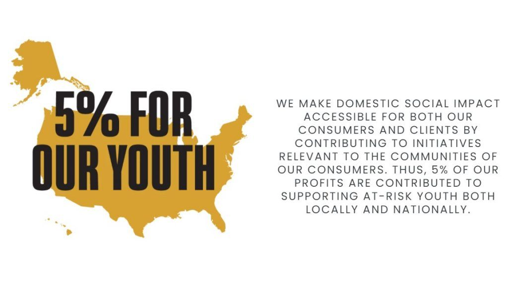 BLK & Bold donates 5% of its profits to nonprofit organizations to support at-risk youth.
